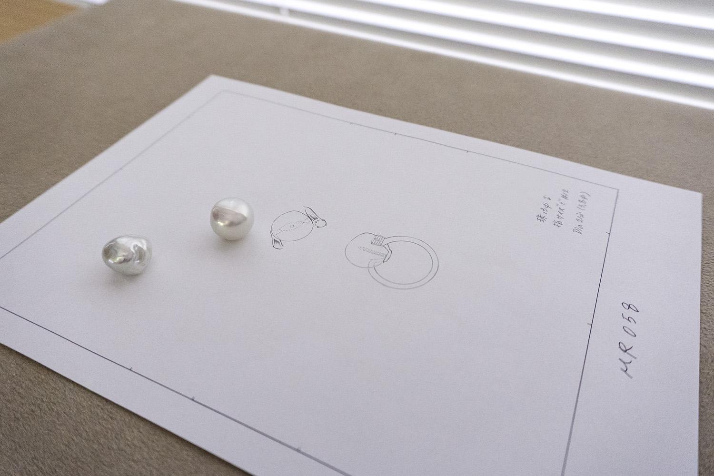 バロックパールのリングのデザイン画