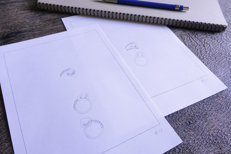 バロックパールリングデザイン画